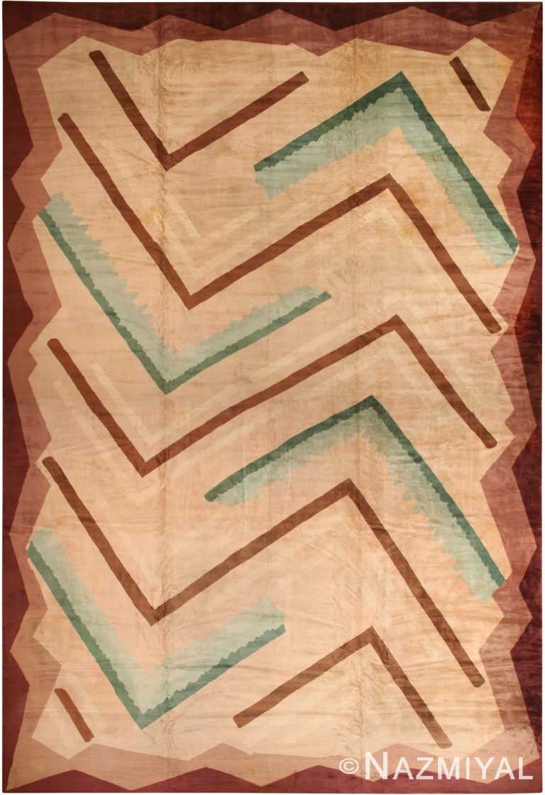 Oversized Antique French Art Deco Carpet 70262 by Nazmiyal Antique Rugs