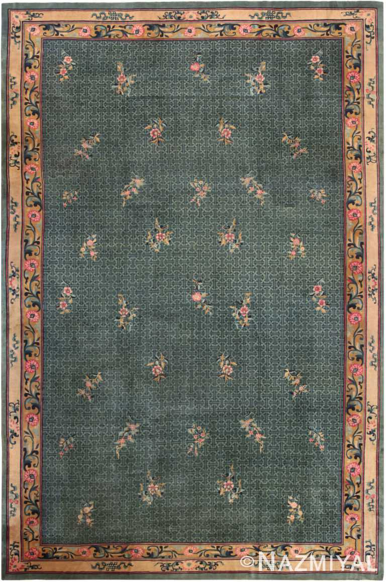 Oversized Green Background Antique Chinese Rug 70967 by Nazmiyal Antique Rugs