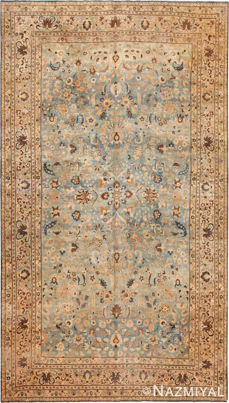 Gallery Size Light Blue Antique Persian Khorassan Rug 71054 by Nazmiyal Antique Rugs