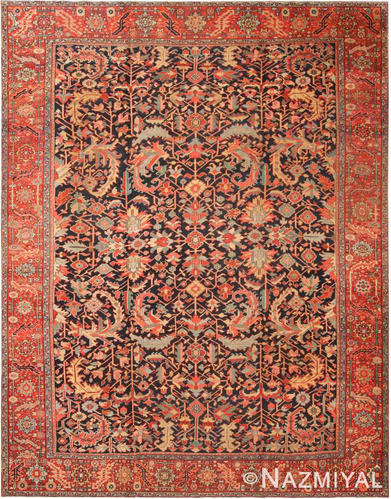 Geometric Antique Persian Heriz Area Rug 71042 by Nazmiyal Antique Rugs