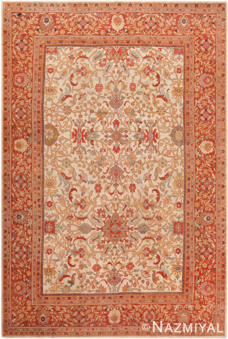 Ivory Background Antique Persian Sultanabad Area Rug 71045 by Nazmiyal Antique Rugs