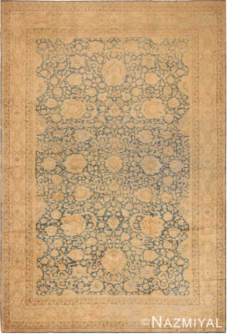 Large Blue Background Antique Persian Kerman Area Rug 71053 by Nazmiyal Antique Rugs