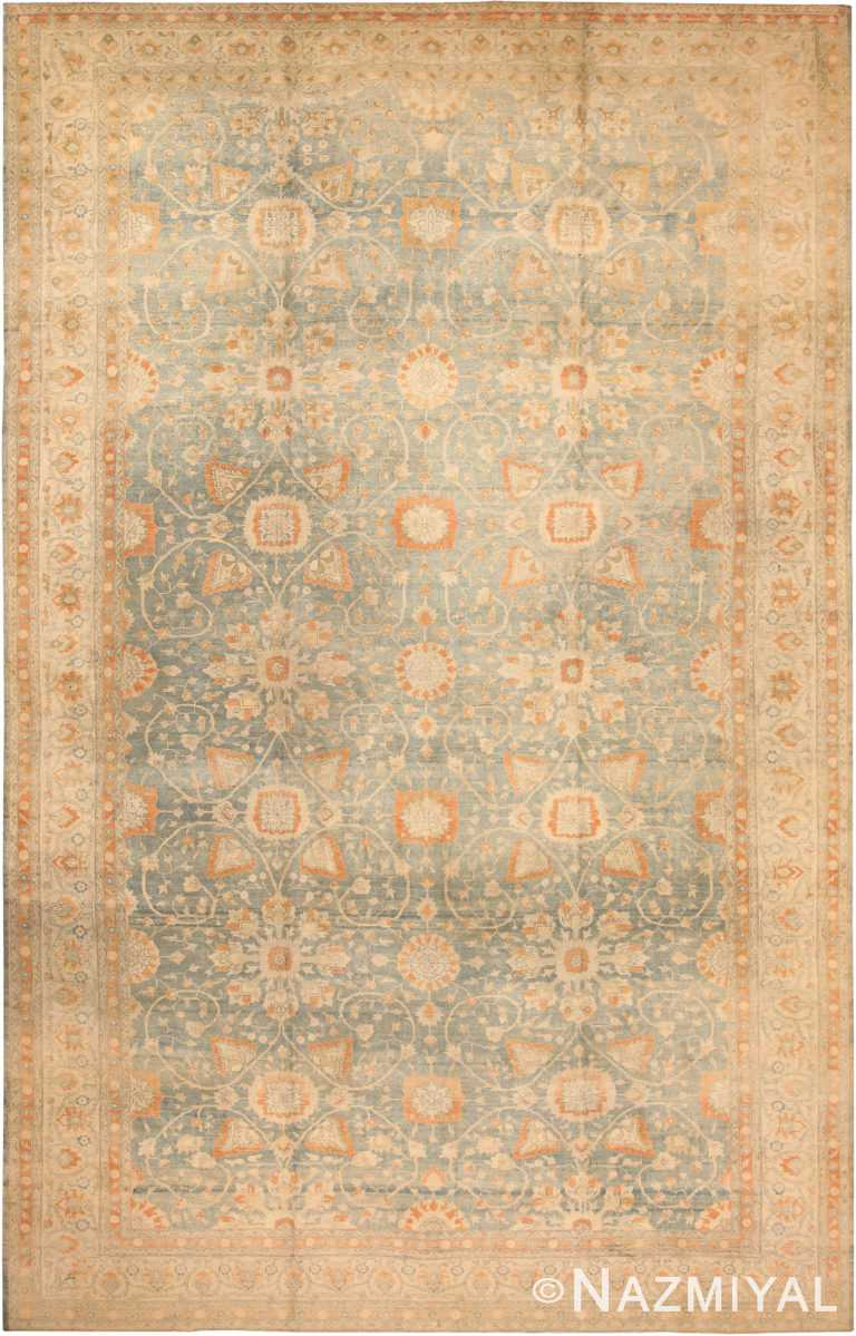Light Blue Background Large Antique Persian Tabriz Area Rug 71047 by Nazmiyal Antique Rugs