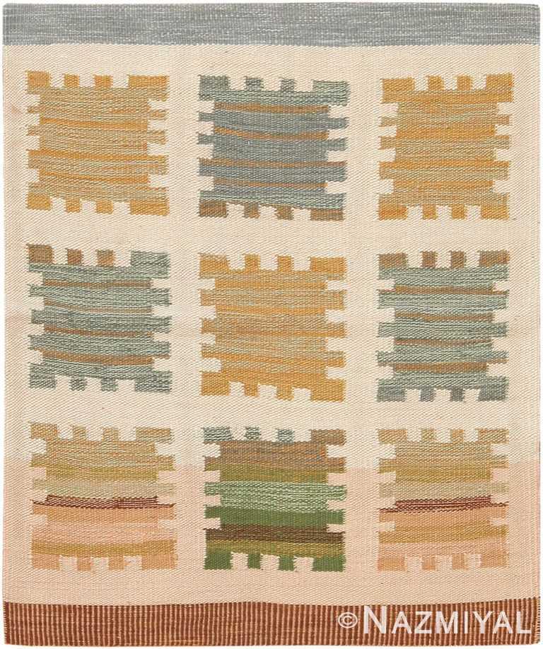 Modern Custom Swedish Kilim Rug Sample 60847 by Nazmiyal Antique Rugs