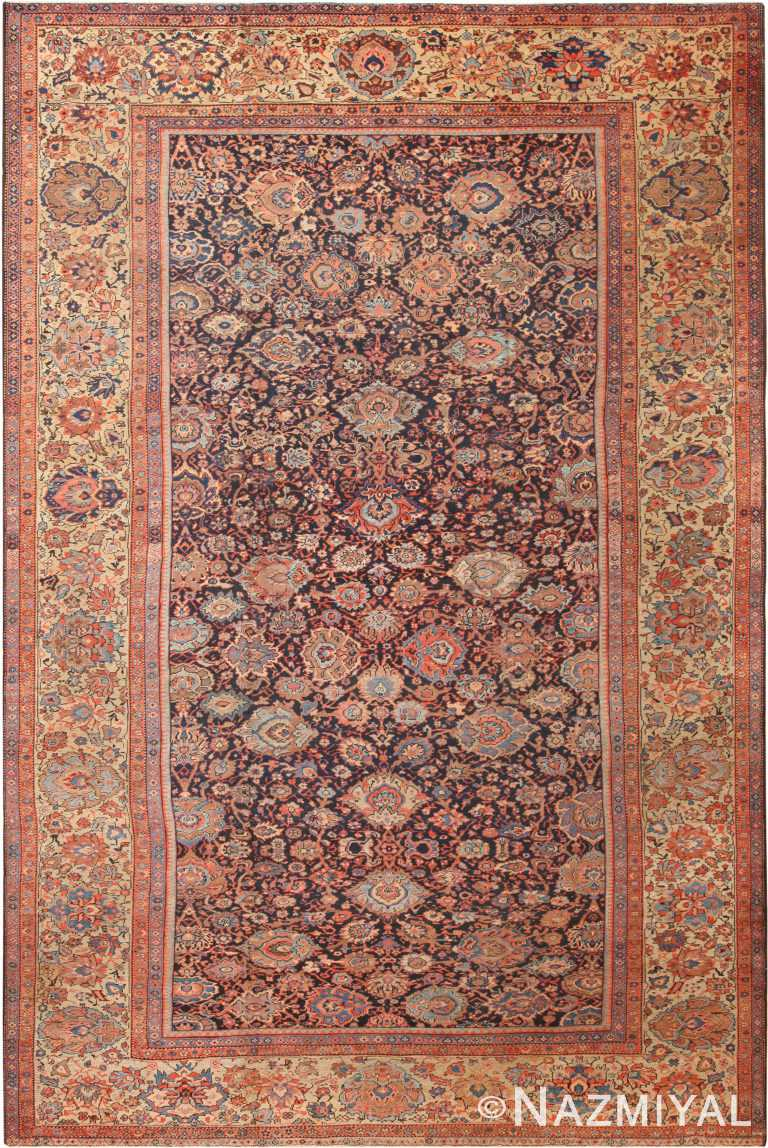 Navy Blue Background Large Antique Persian Sultanabad Rug 71043 by Nazmiyal Antique Rugs