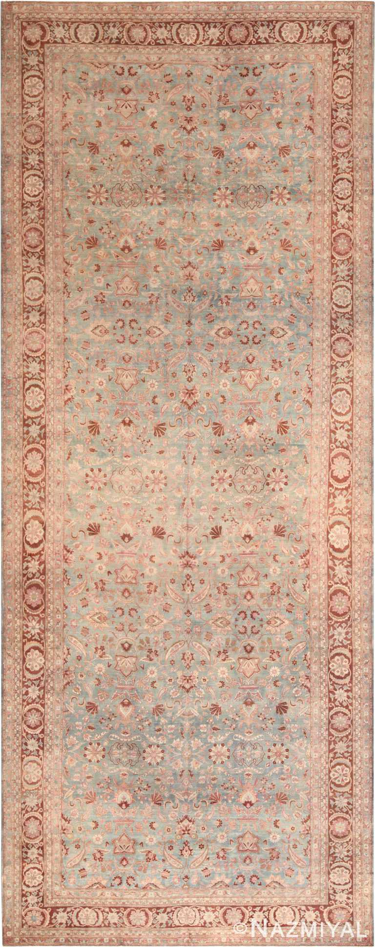 Oversized Light Blue Background Antique Persian Kerman Rug 71048 by Nazmiyal Antique Rugs