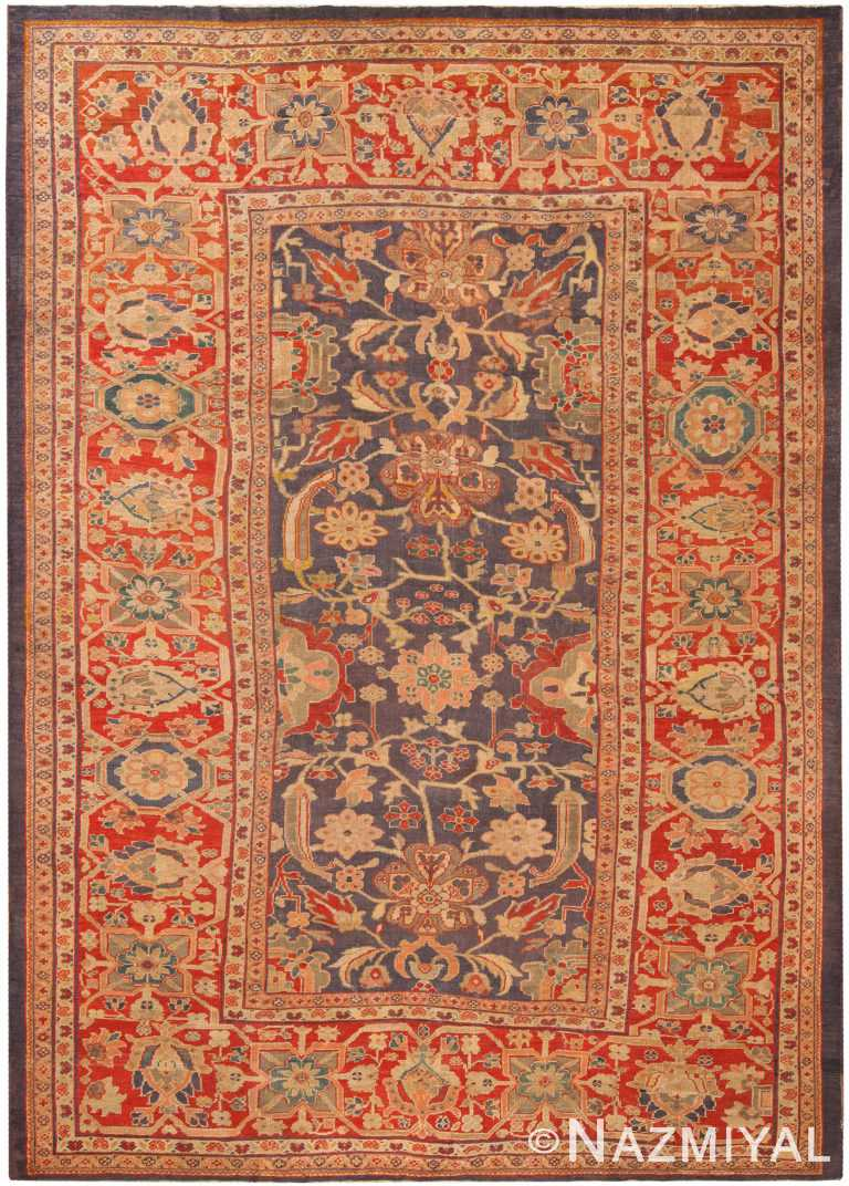 Purple Background Antique Persian Sultanabad Area Rug 71050 by Nazmiyal Antique Rugs
