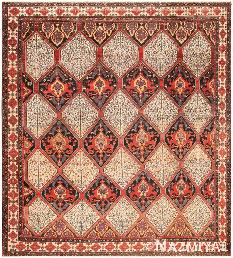 Tribal Geometric Antique Persian Bakhtiari Area Rug 71051 by Nazmiyal Antique Rugs