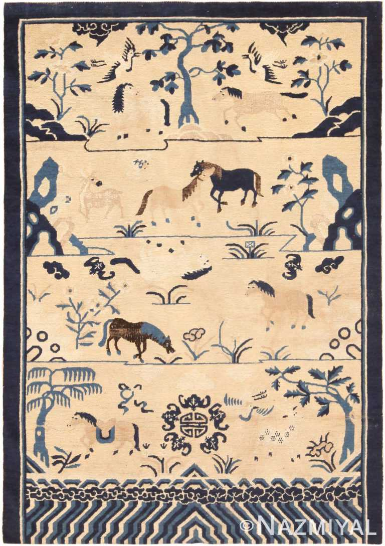 18th Century Antique Chinese Animal Rug 71026 by Nazmiyal Antique Rugs