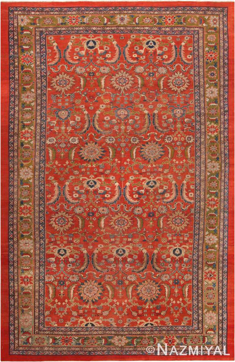 Antique Sickle Leaf Design Persian Sultanabad Area Rug 71099 by Nazmiyal Antique Rugs