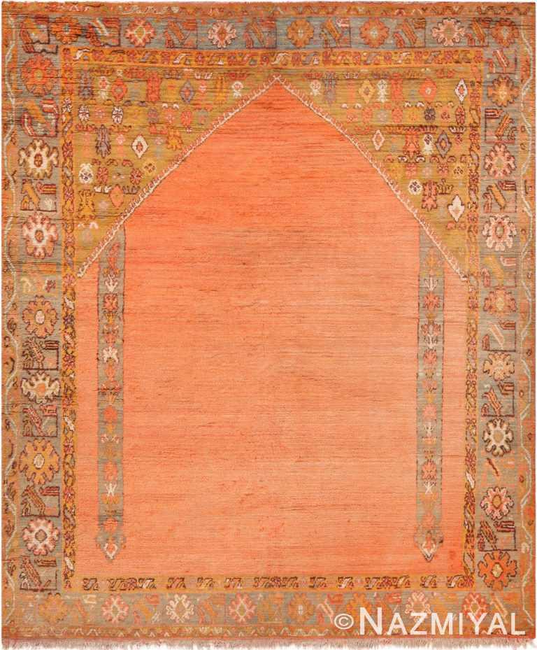 Antique Turkish Oushak Prayer Rug 71110 by Nazmiyal Antique Rugs