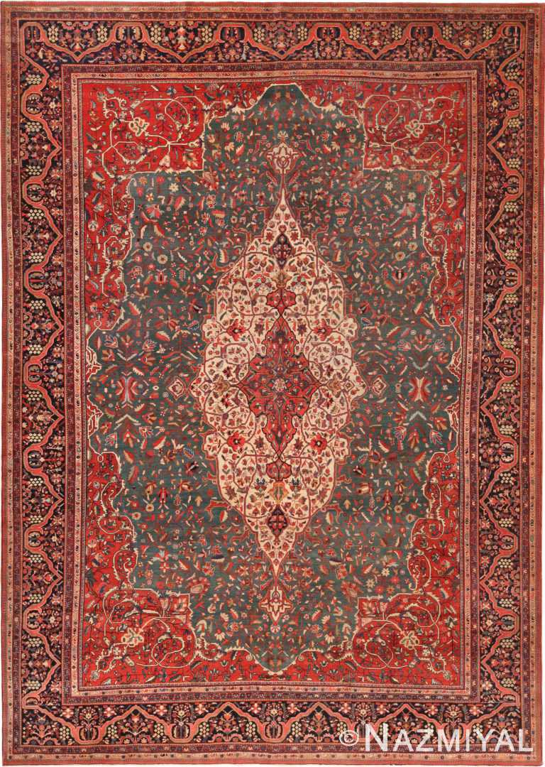 Beautiful Green Background Antique Persian Sarouk Farahan Area- Rug 71135 by Nazmiyal Antique Rugs
