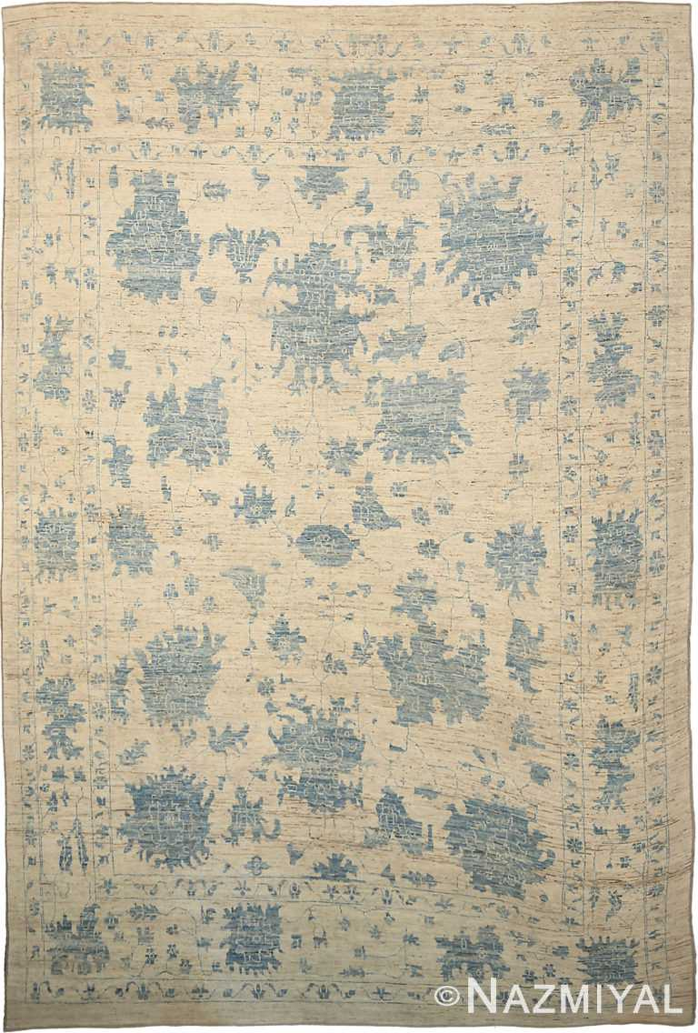Beige Blue Geometric Modern Oushak 60871 by Nazmiyal Antique Rugs