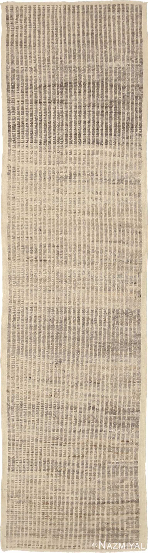 Beige Brown Textured Modern Distressed Runner Rug 60890 by Nazmiyal Antique Rugs