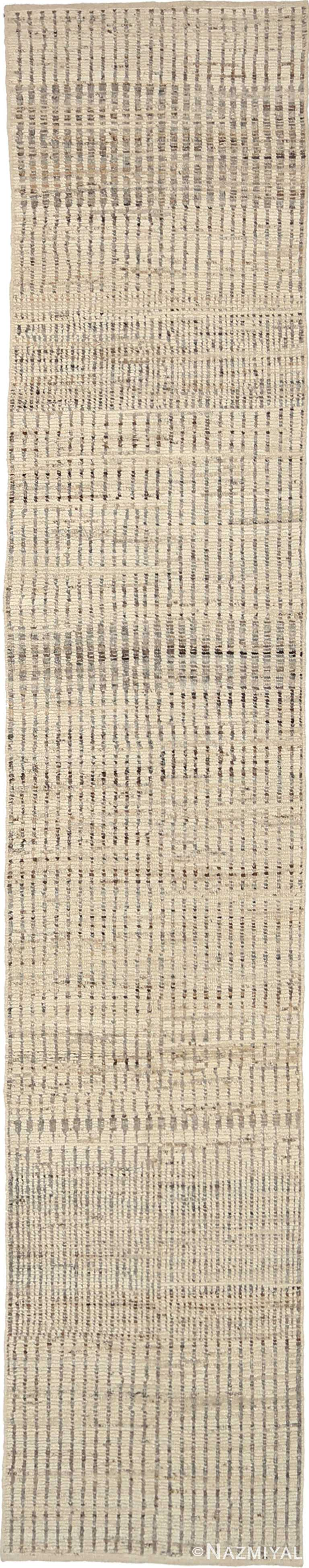 Beige Textured Modern Distressed Runner Rug 60881 by Nazmiyal Antique Rugs
