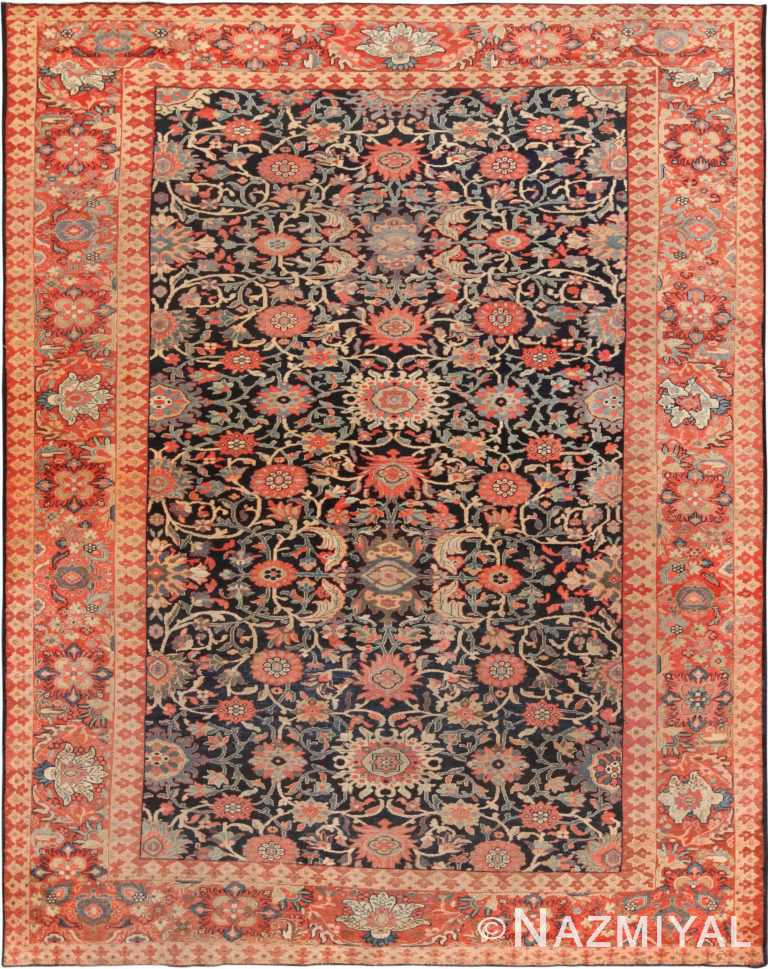 Blue Background Antique Persian Sarouk Farahan Area Rug 71062 by Nazmiyal Antique Rugs