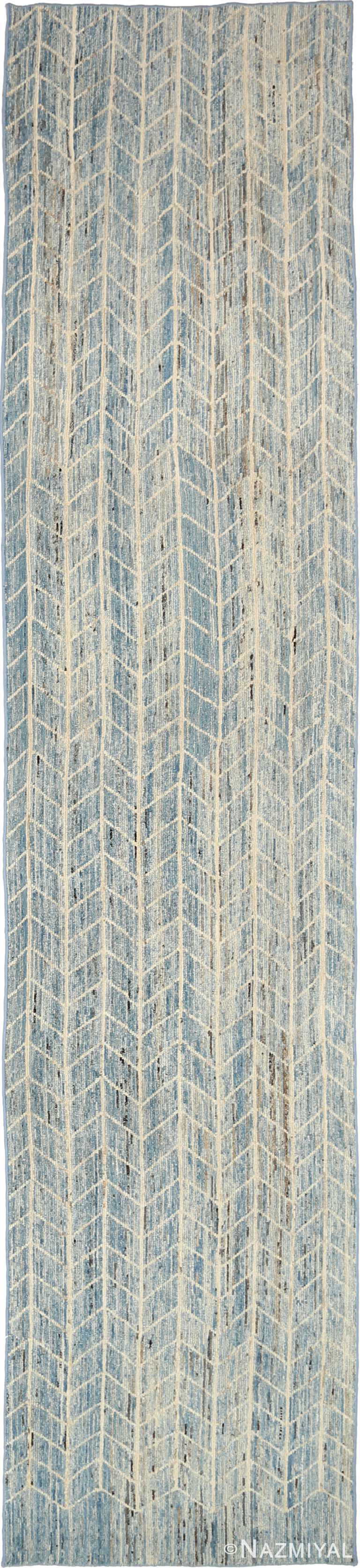 Blue Beige Geometric Modern Distressed Runner Rug 60882 by Nazmiyal Antique Rugs