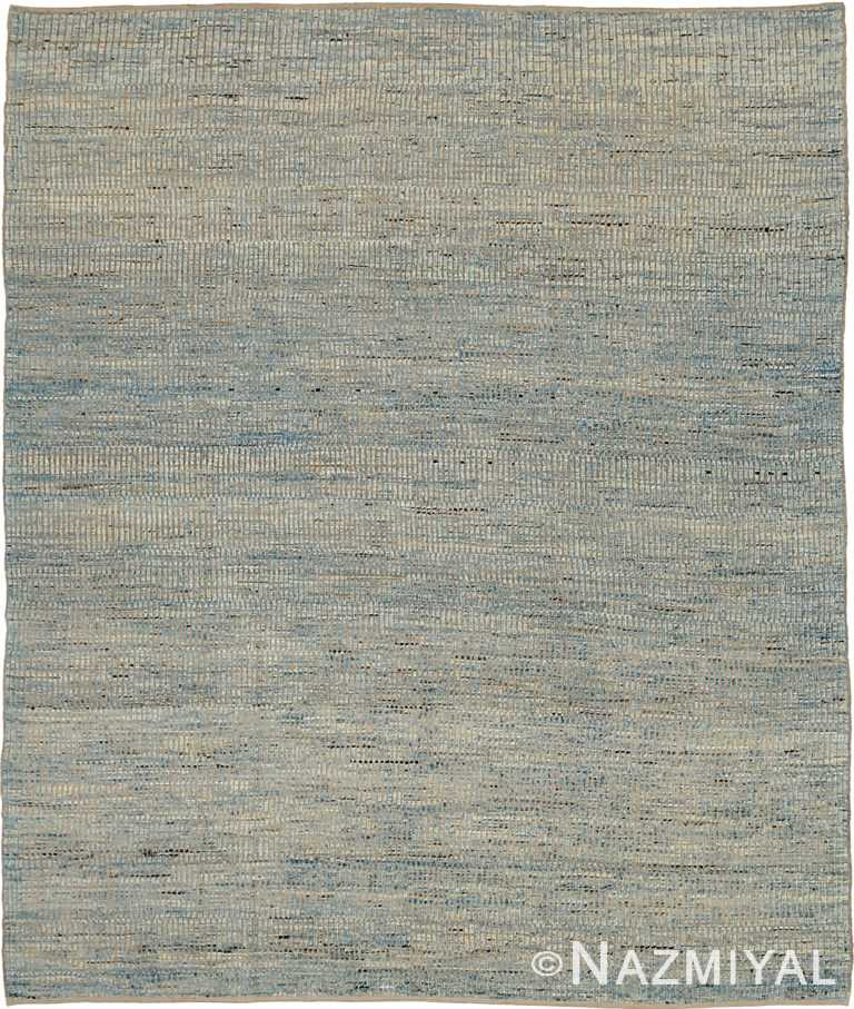Blue Beige Textured Modern Distressed 60887 by Nazmiyal Antique Rugs