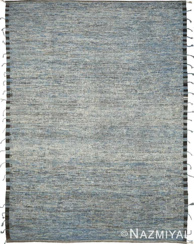 Blue Geometric Modern Distressed 60876 by Nazmiyal Antique Rugs