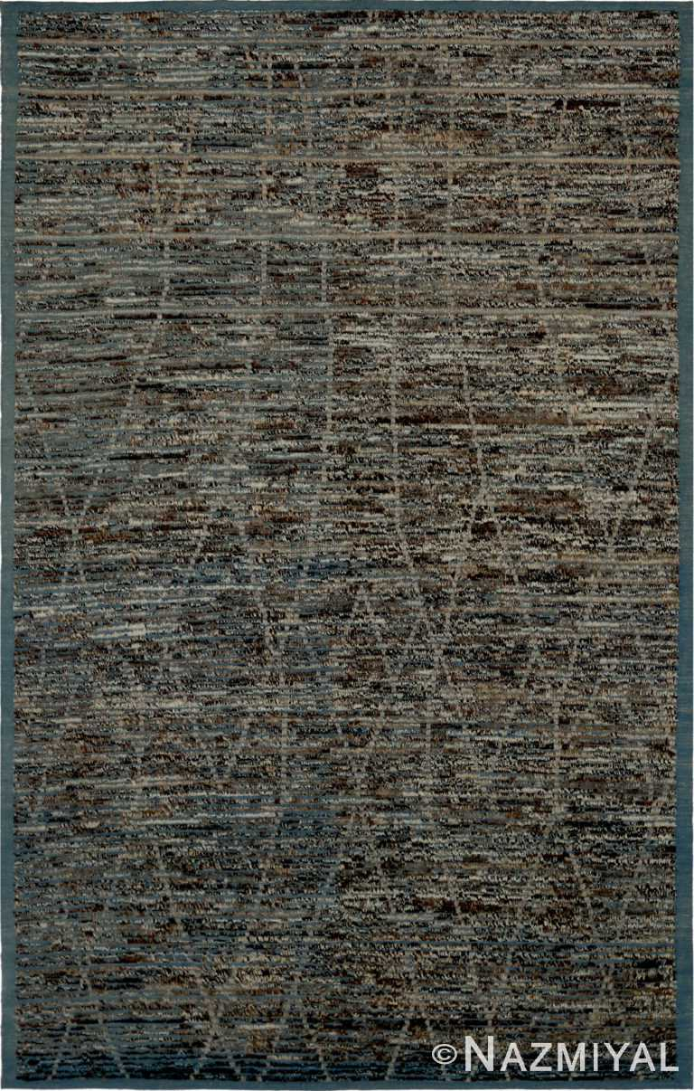 Brown Navy Blue Textured Modern Distressed 60891 by Nazmiyal Antique Rugs