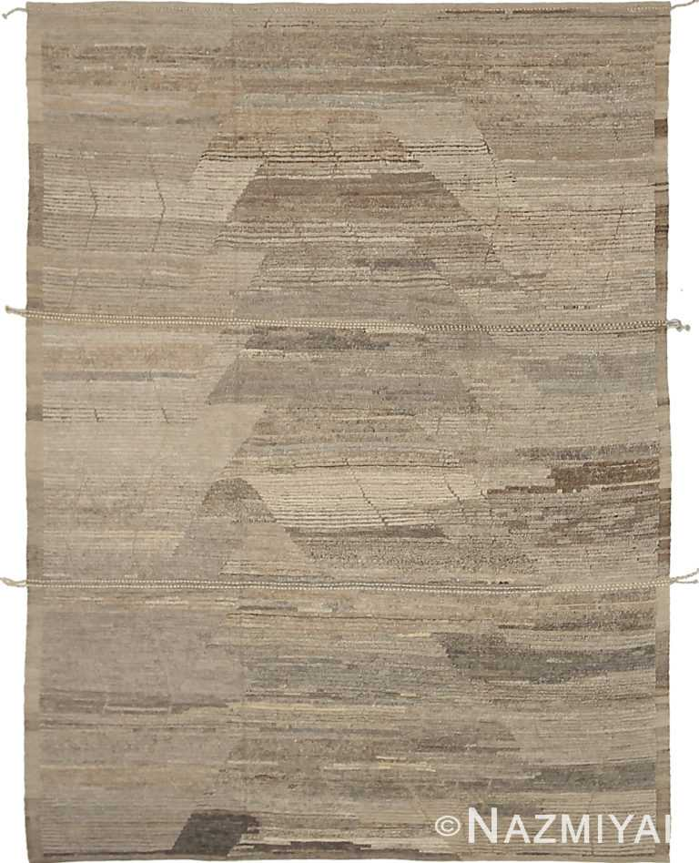Brown Primitive Design Modern Distressed 60888 by Nazmiyal Antique Rugs