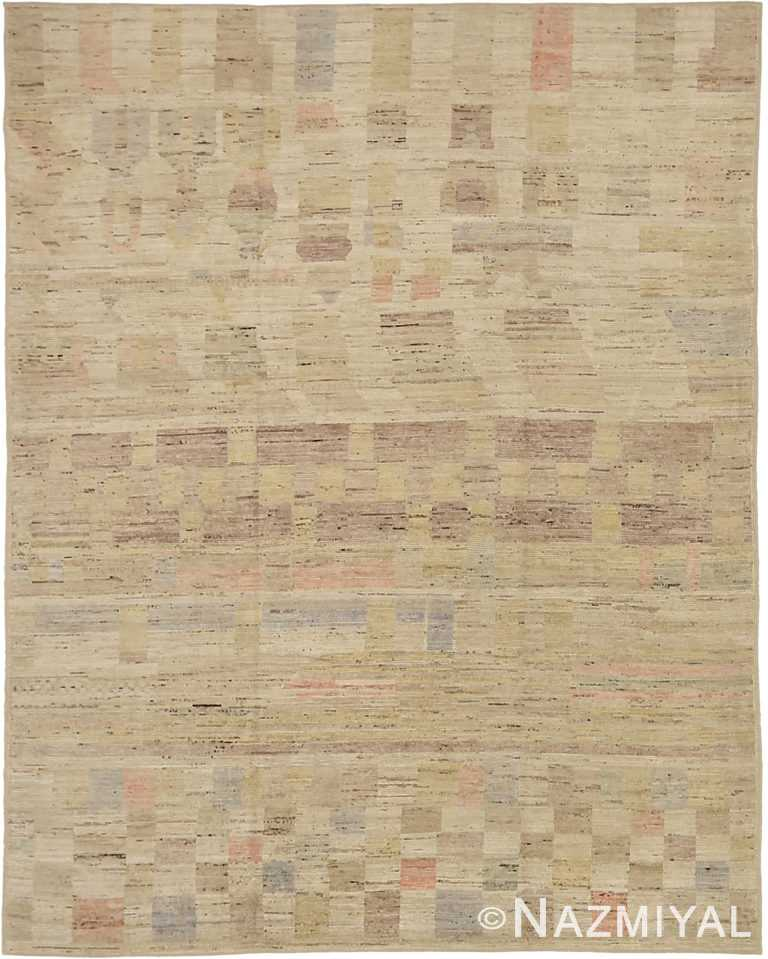 Geometric Room Size Modern Distressed 60886 by Nazmiyal Antique Rugs
