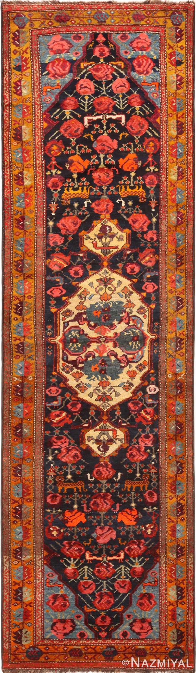 Gorgeous Animal Design Antique Persian Kurdish Runner 71130 by Nazmiyal Antique Rugs