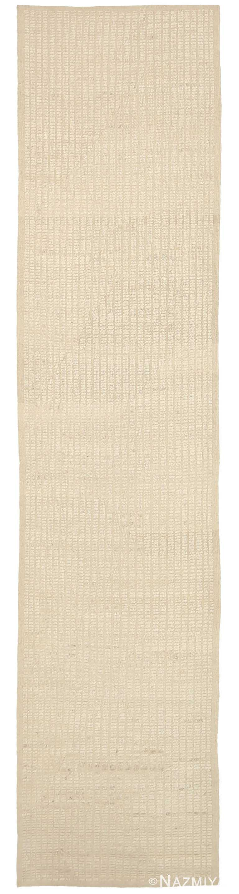 Ivory Textured Modern Distressed Runner Rug 60884 by Nazmiyal Antique Rugs