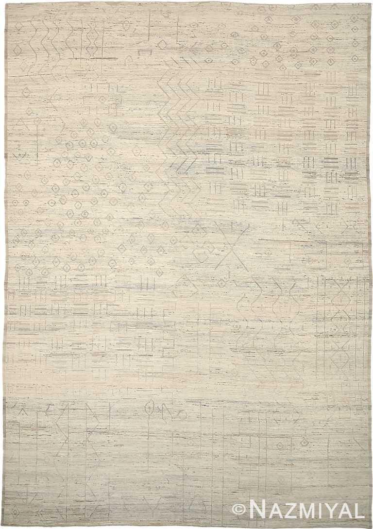 Ivory Tribal Design Geometric Modern Distressed 60878 by Nazmiyal Antique Rugs