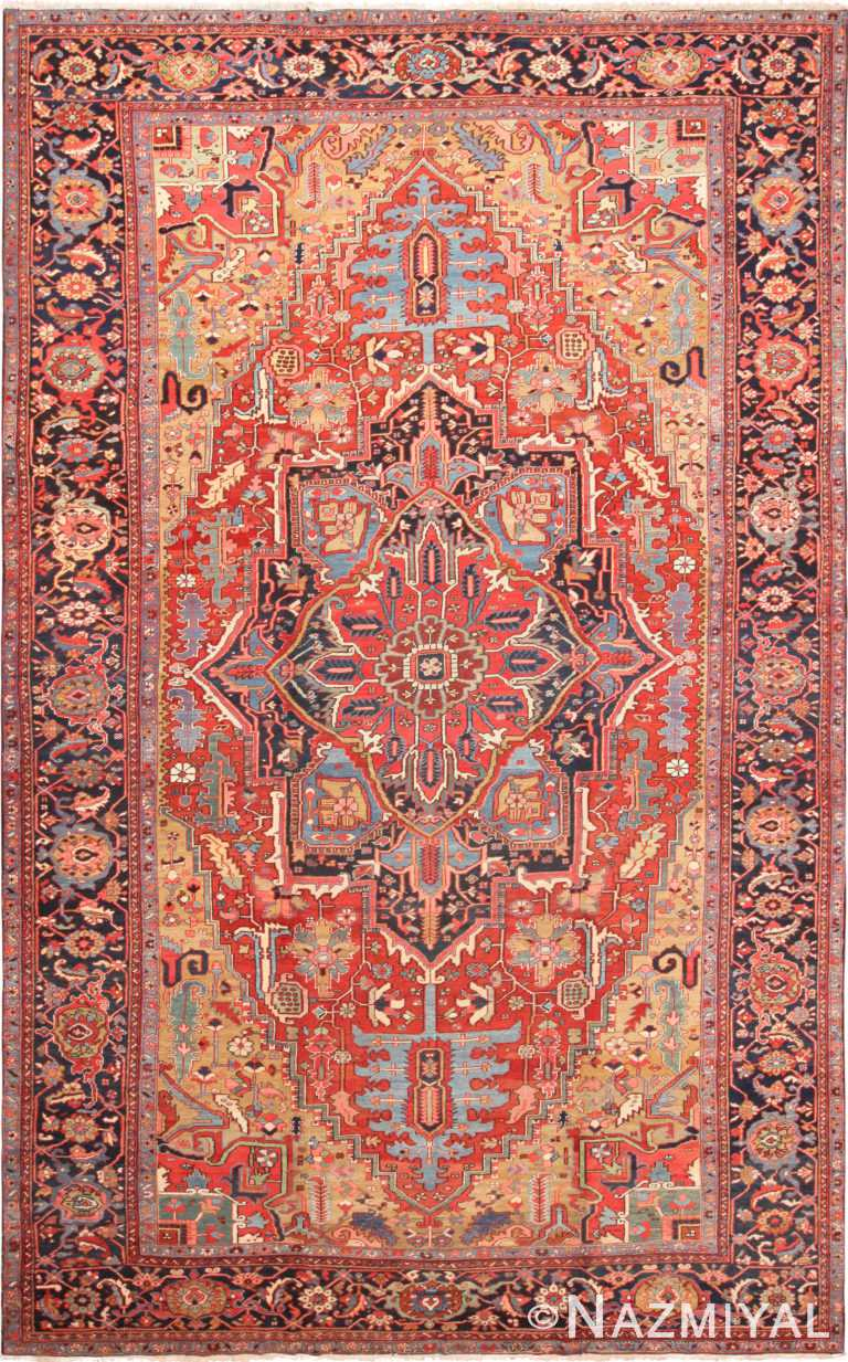 Large Antique Persian Heriz Area Rug 71129 by Nazmiyal Antique Rugs