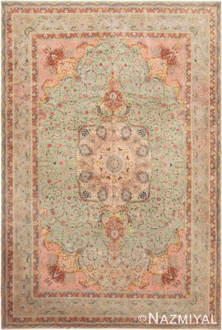 Large Silk And Wool Vintage Persian Tabriz Rug 71097 by Nazmiyal Antique Rugs