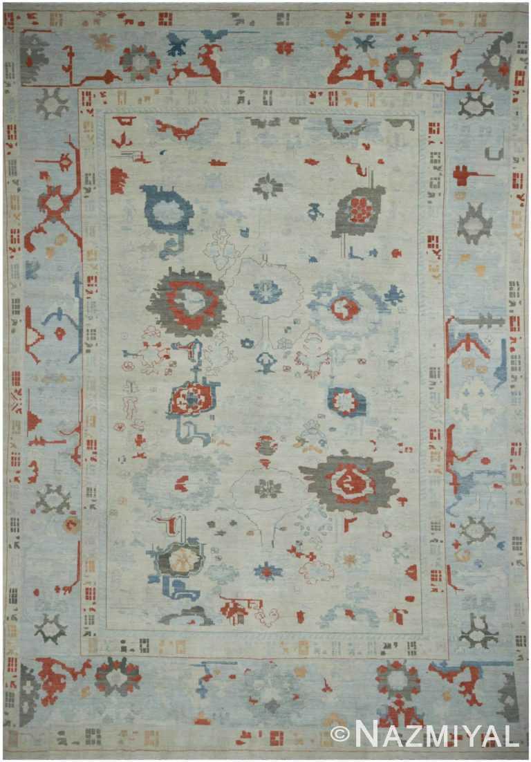 Light Blue Geometric Modern Oushak 60873 by Nazmiyal Antique Rugs