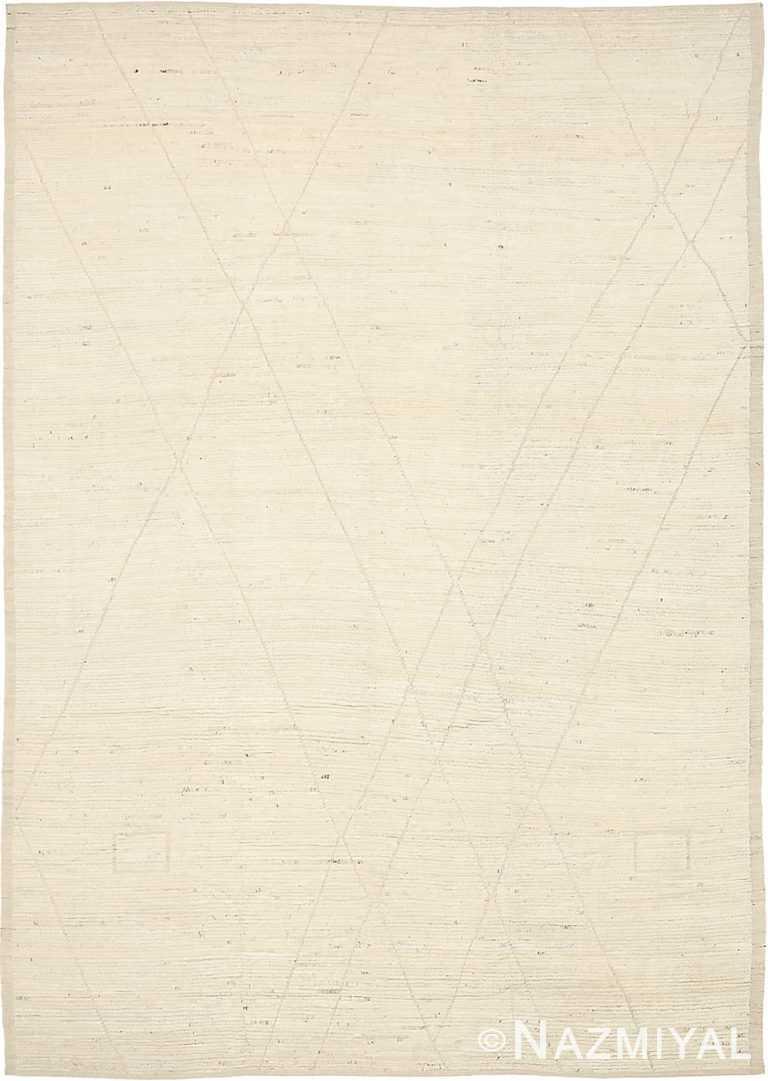 Light Ivory Geometric Modern Distressed 60883 by Nazmiyal Antique Rugs