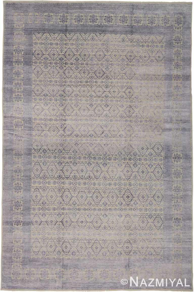 Purple Textured Geometric Modern Oriental 60893 by Nazmiyal Antique Rugs