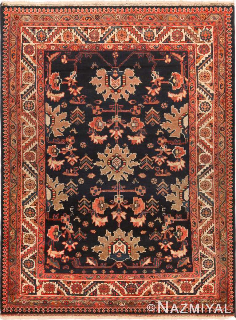 Stunning Navy Blue Antique Persian Malayer Rug 71131 by Nazmiyal Antique Rugs