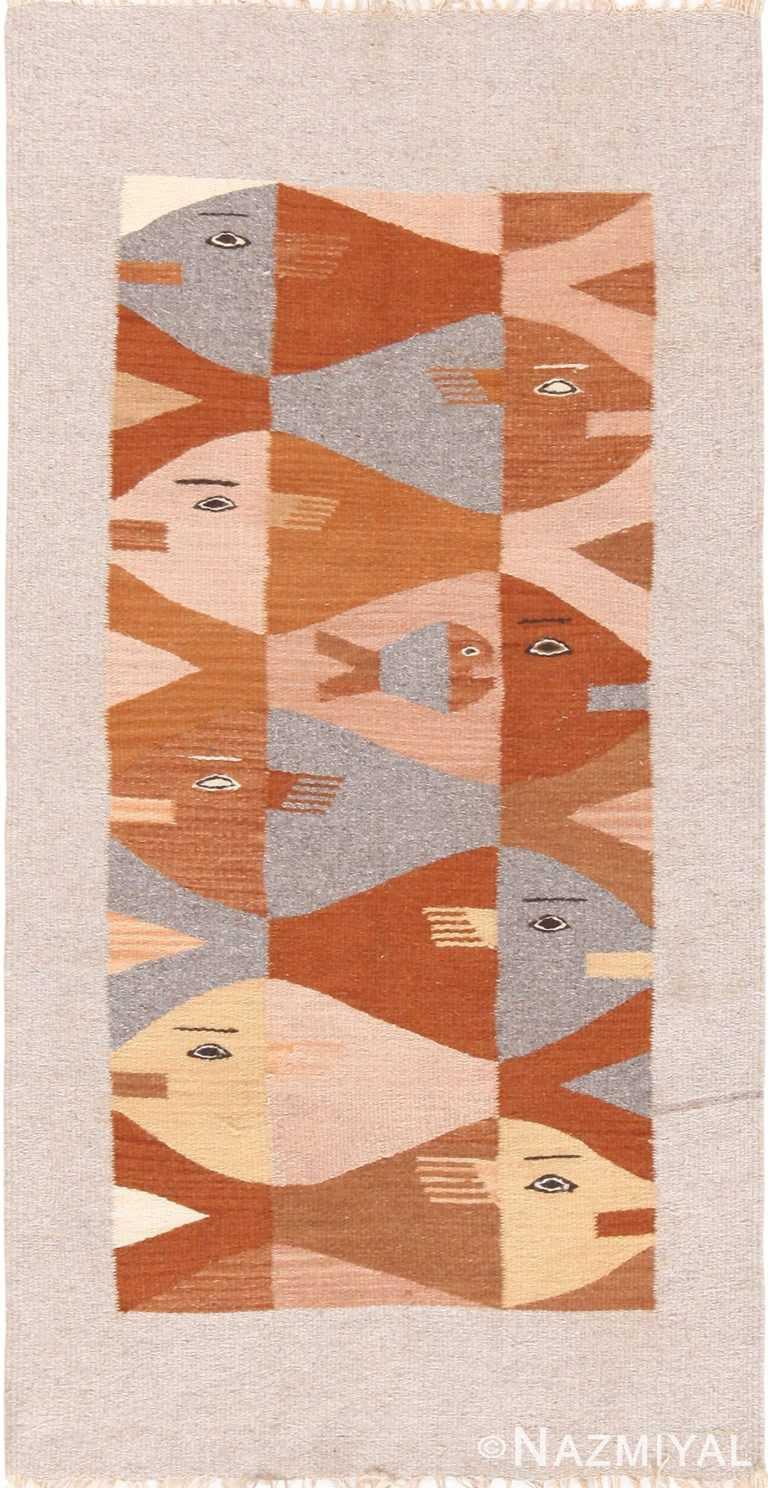 Vintage Scandinavian Fish Design Kilim Rug 71056 by Nazmiyal Antique Rugs