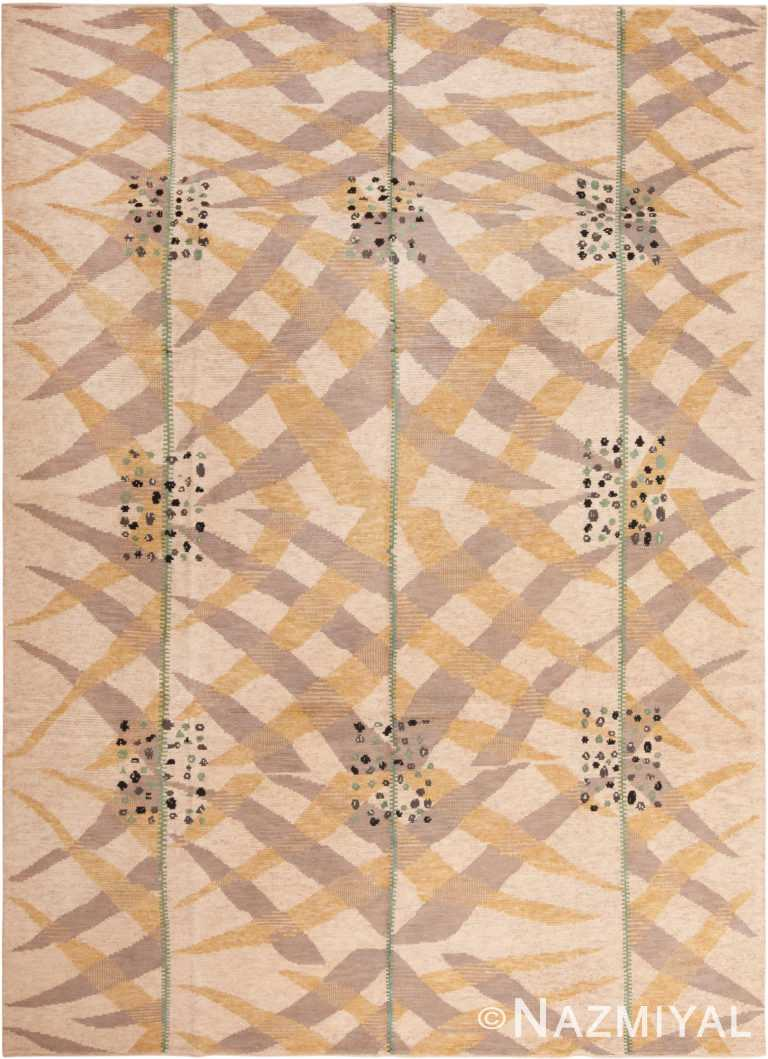 Beige Silk And Wool Modern Swedish Style Area Rug #60900 by Nazmiyal Antique Rugs