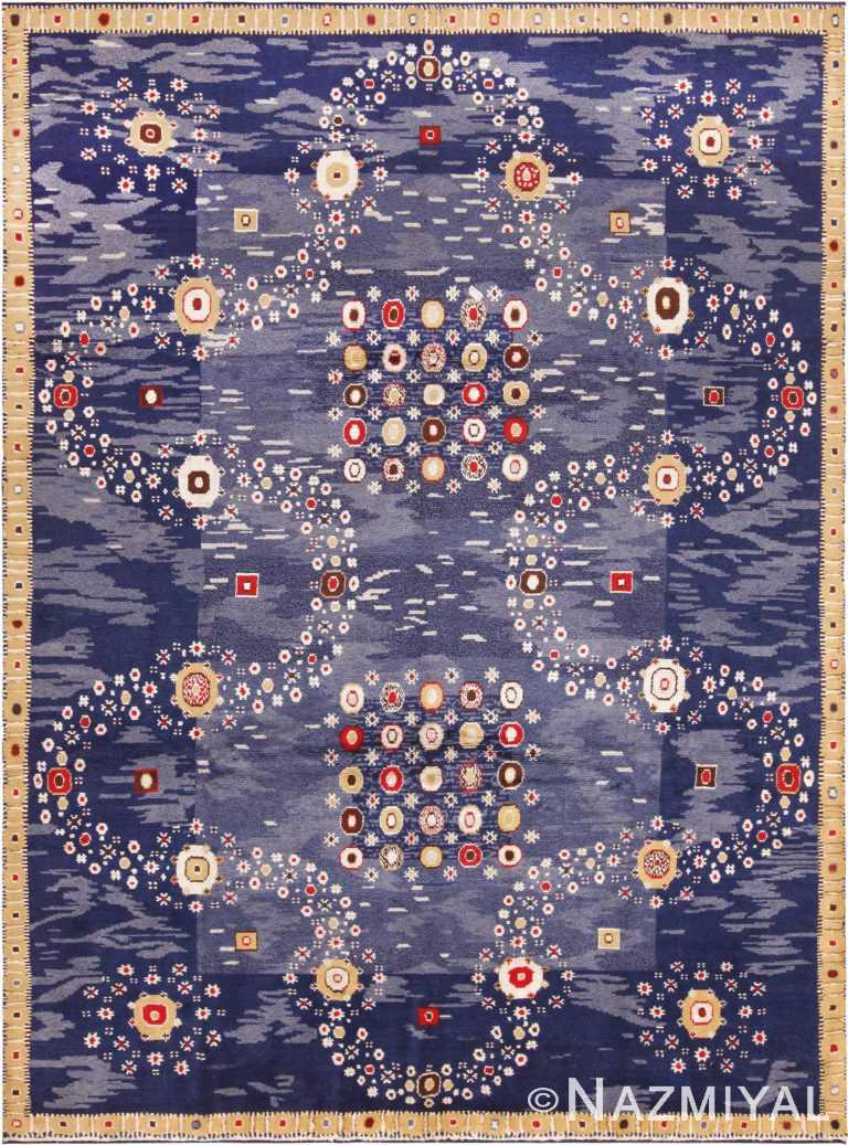 Blue Stunning Modern Silk And Wool Swedish Inspired Rug 60906 by Nazmiyal Antique Rugs