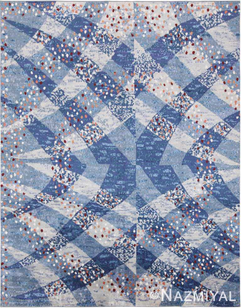 Spectacular Blue Silk And Wool Modern Swedish Design Area Rug 60911 by Nazmiyal Antique Rugs