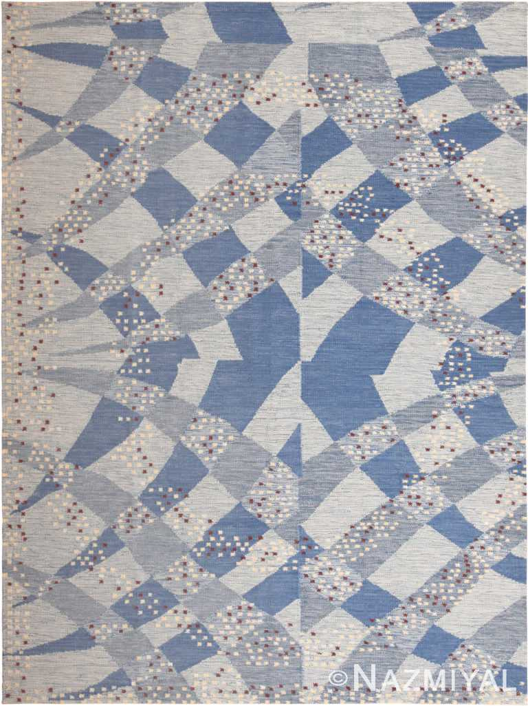 Gorgeous Modern Flat Woven Swedish Style Blue Rug 60894 by Nazmiyal Antique Rugs