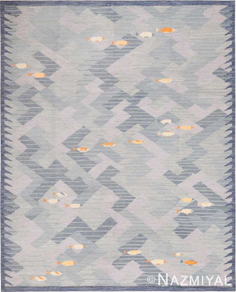 Modern Swedish Inspired Flat Woven Fish Design Area Rug 60899 by Nazmiyal Antique Rugs