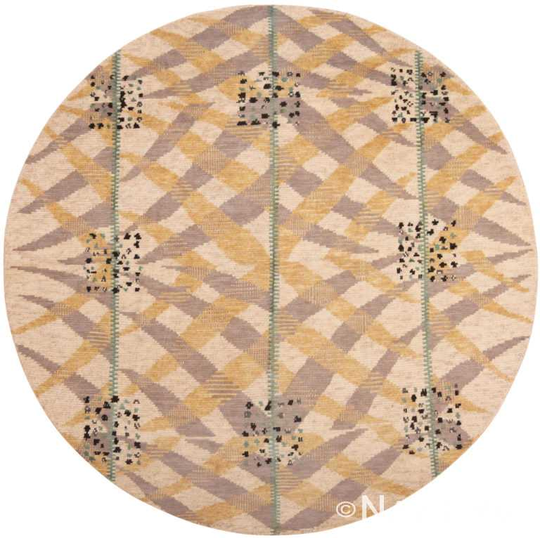 Round Silk And Wool Modern Swedish Inspired Area Rug 60901 by Nazmiyal Antique Rugs