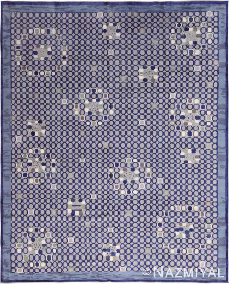 Shiny Blue Silk And Wool Modern Swedish Style Geometric Rug 60903 by Nazmiyal Antique Rugs