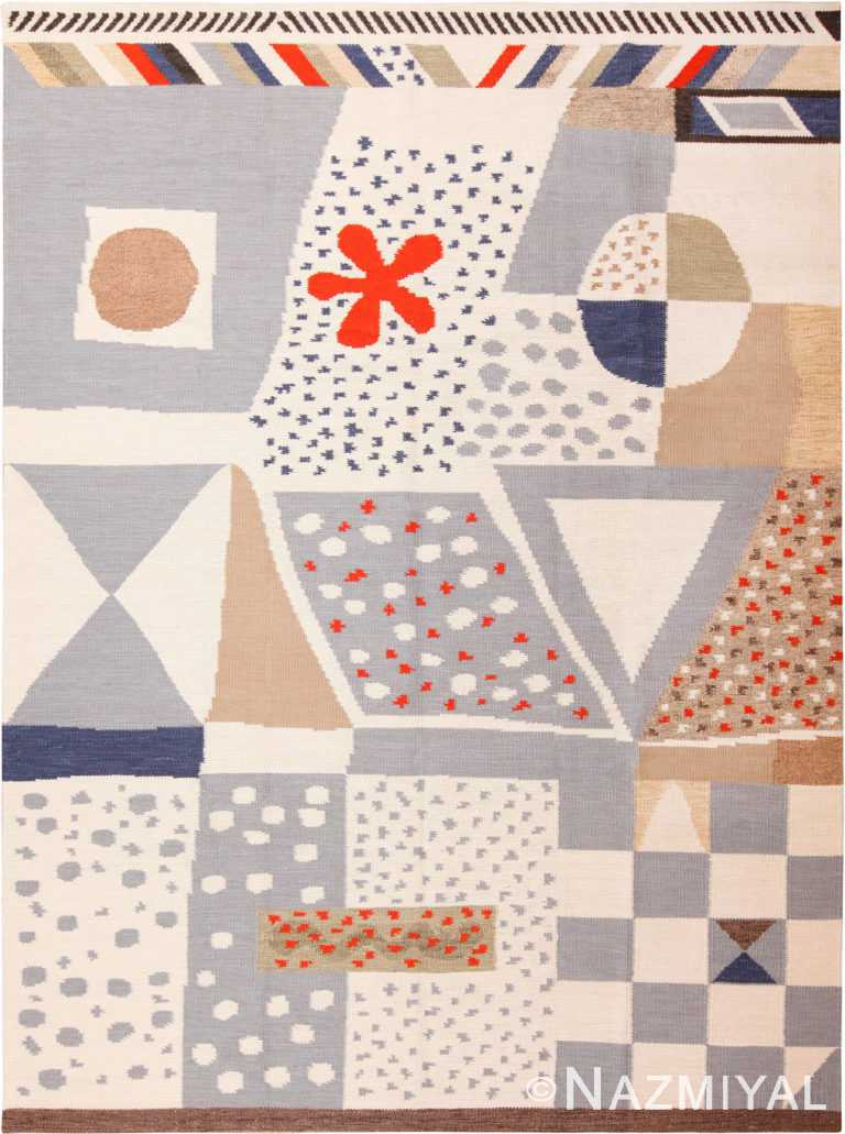 Spectacular Modern Geometric Swedish Style Are Rug 60896 by Nazmiyal Antique Rugs