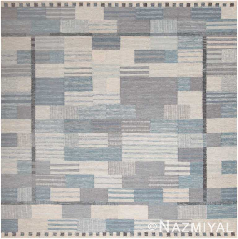 Square Modern Geometric Swedish Inspired Flat Woven Area Rug 60898 by Nazmiyal Antique Rugs