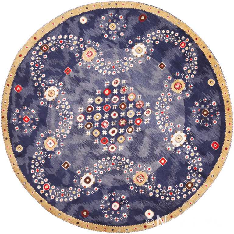 Vibrant Silk And Wool Modern Swedish Inspired Round Blue Rug 60905 by Nazmiyal Antique Rugs